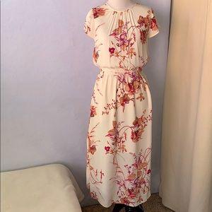 Floral Print Cap Sleeve Dress - Cream